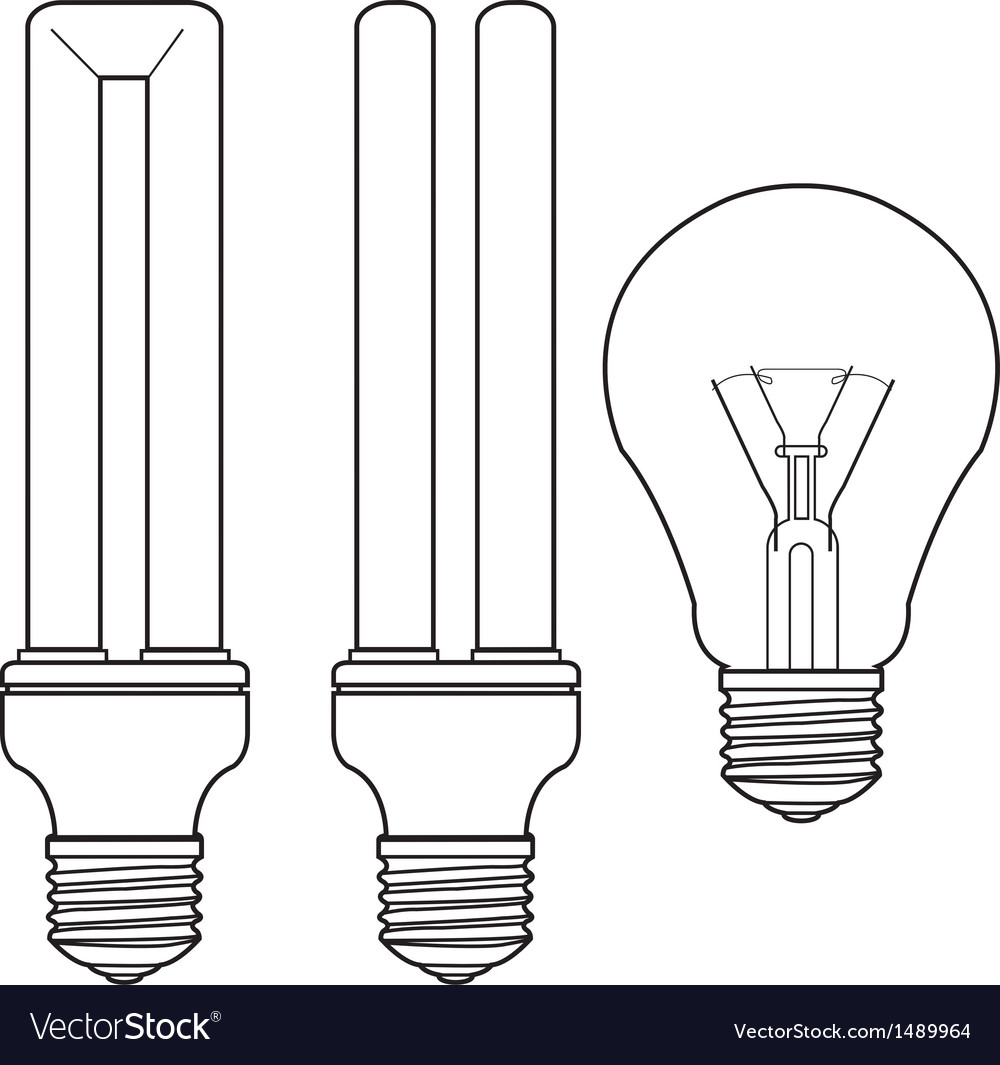Bulb and fluorescent bulb vector | Price: 1 Credit (USD $1)