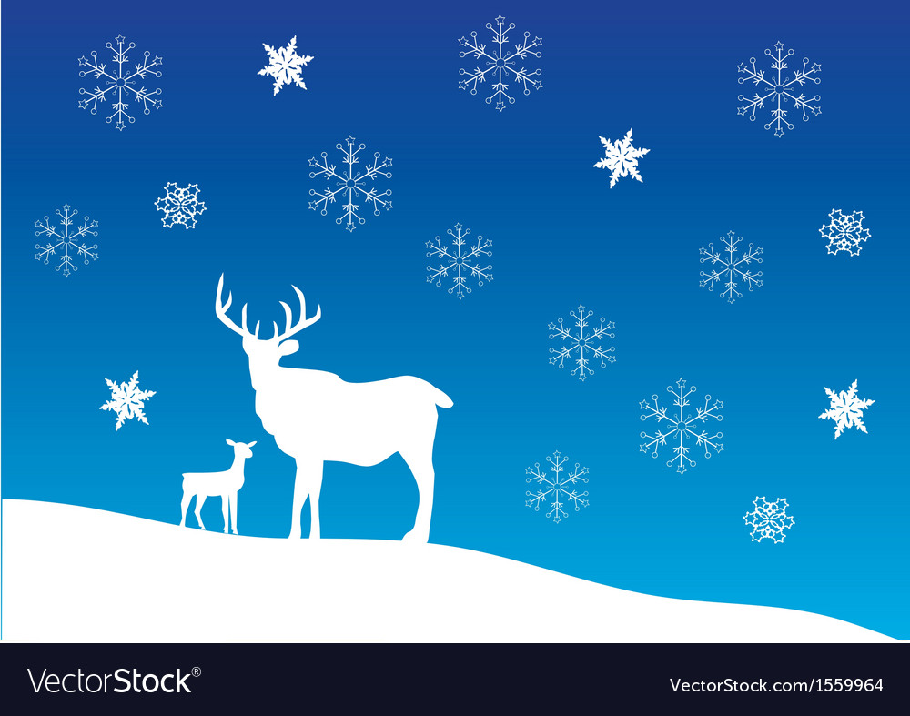 Deer snow vector | Price: 1 Credit (USD $1)