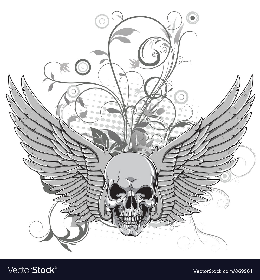 Floral with skull and wings vector | Price: 1 Credit (USD $1)