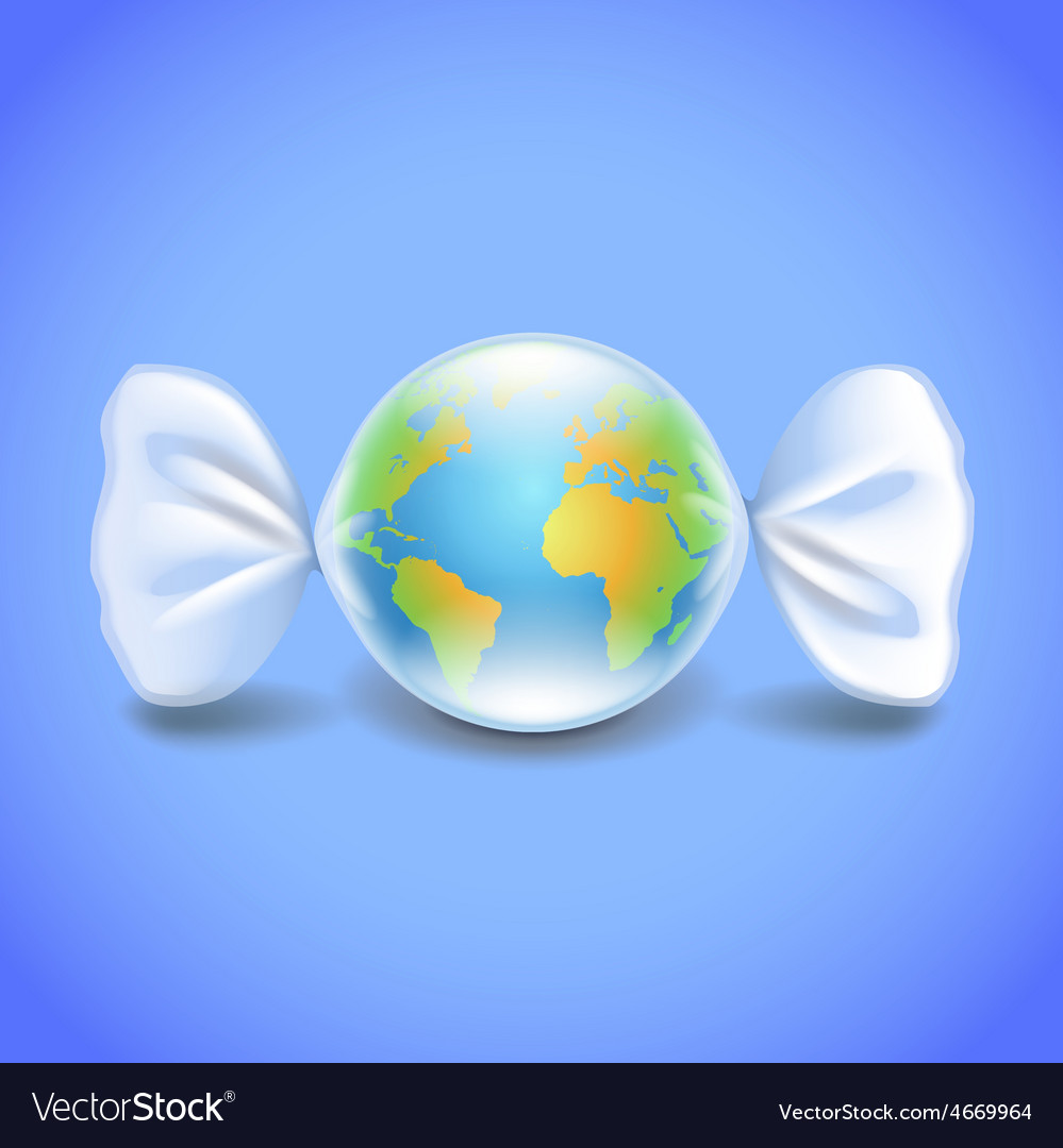 Globe like candy environment concept vector