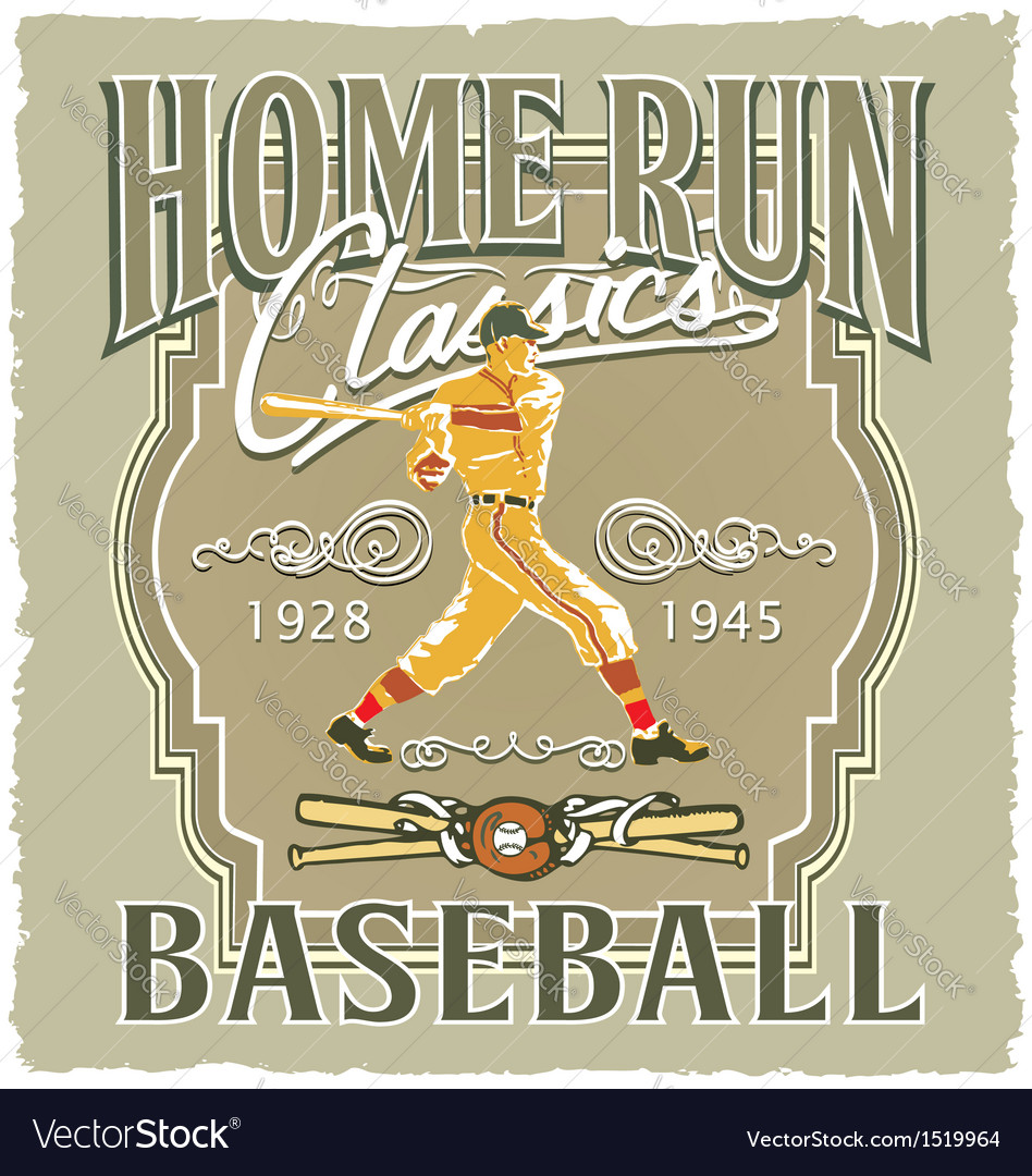 Home run baseball classic vector | Price: 1 Credit (USD $1)
