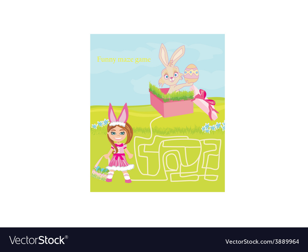 Maze game - sweet girl and easter bunny vector | Price: 1 Credit (USD $1)
