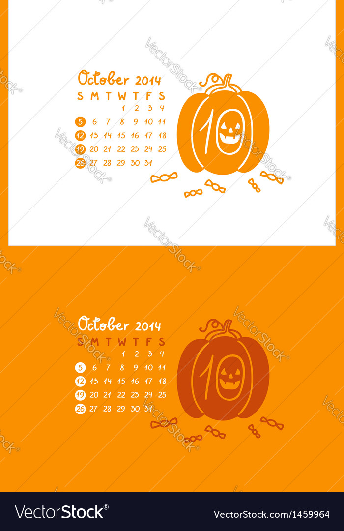 October 2014 vector | Price: 1 Credit (USD $1)