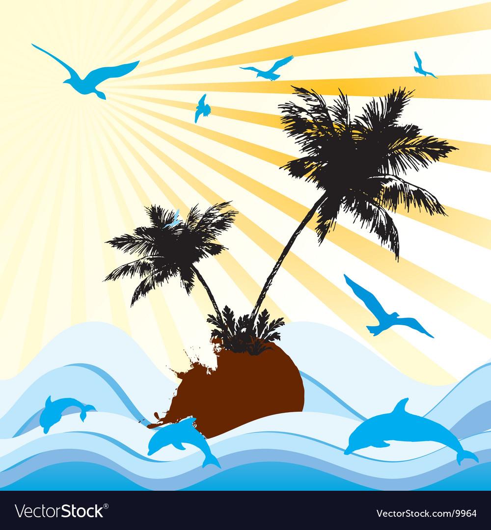 Palms sea floral vector | Price: 1 Credit (USD $1)