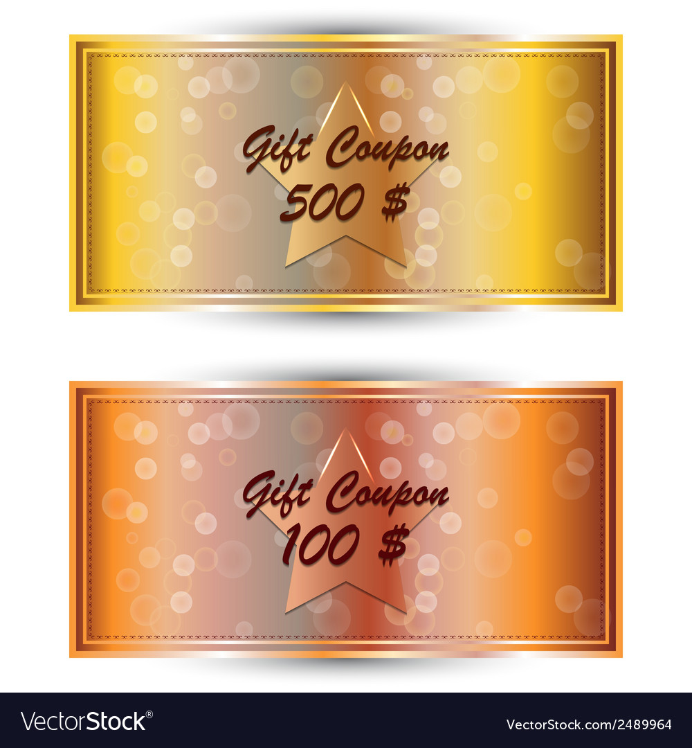 Set gold gift coupon gift card vector | Price: 1 Credit (USD $1)