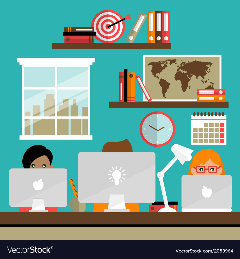 Team works on laptops vector | Price: 1 Credit (USD $1)
