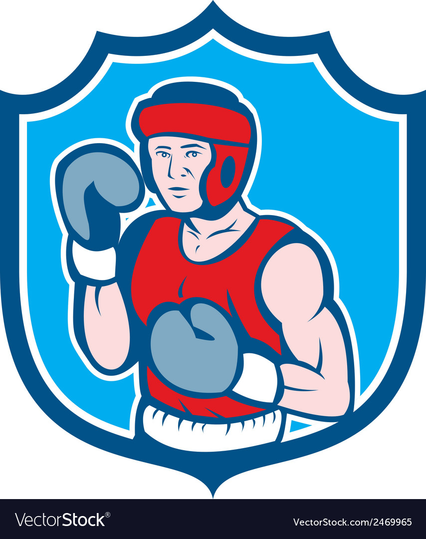 Amateur boxer stance shield cartoon vector | Price: 1 Credit (USD $1)