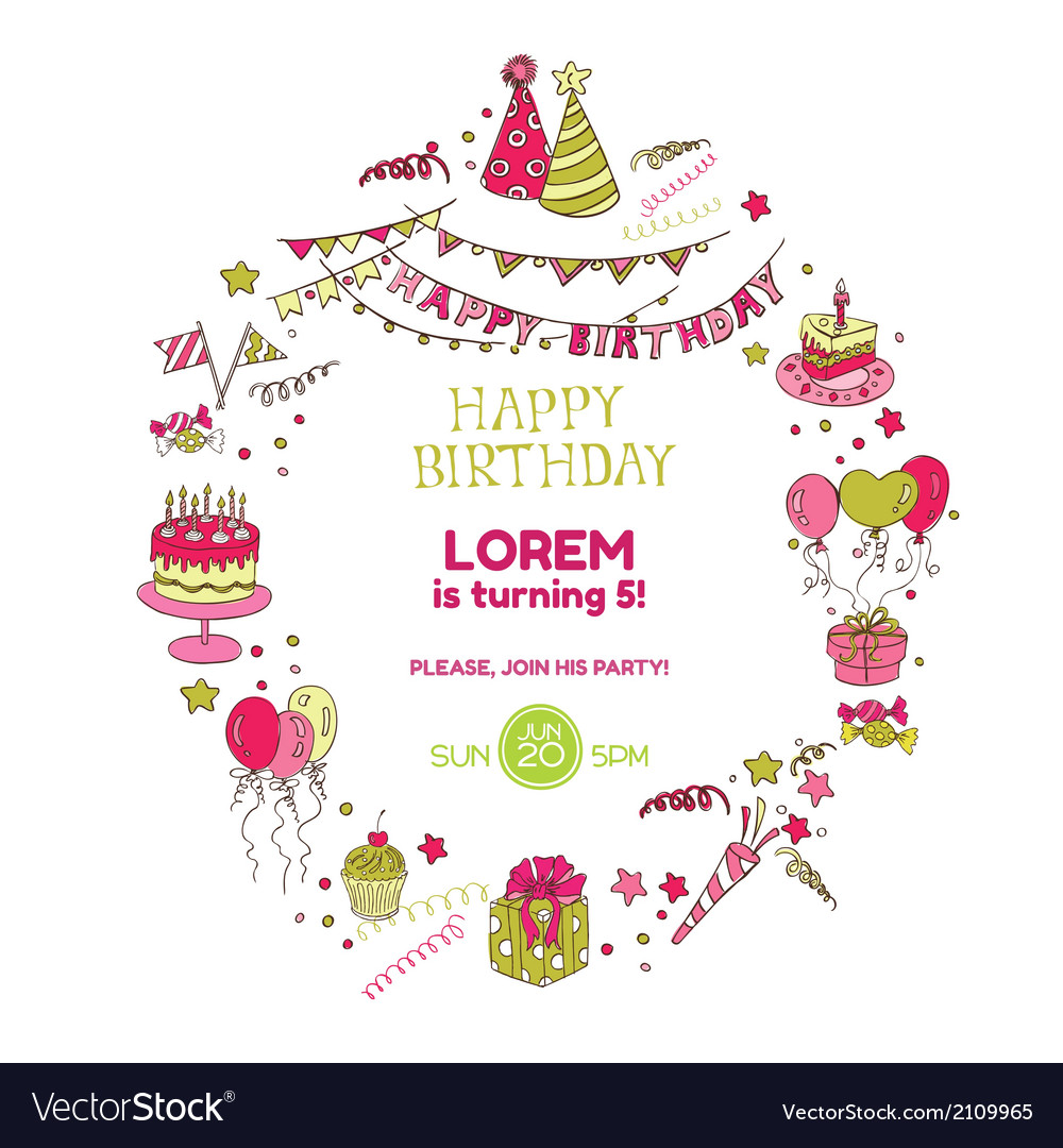 Birthday party invitation card vector   Price: 1 Credit (USD $1)