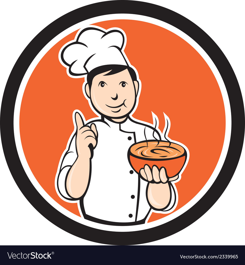 Chef cook carrying bowl circle cartoon vector | Price: 1 Credit (USD $1)