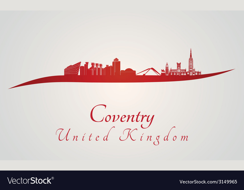 Coventry skyline in red vector | Price: 1 Credit (USD $1)