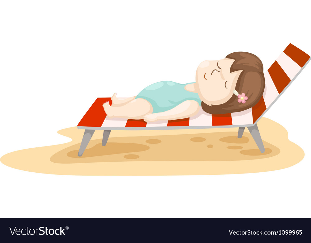 Girl on beach bed vector | Price: 1 Credit (USD $1)
