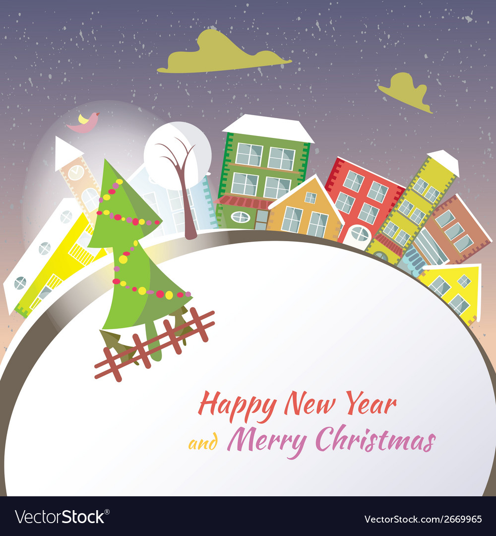 Happy new year greeting card - snowy street vector | Price: 1 Credit (USD $1)