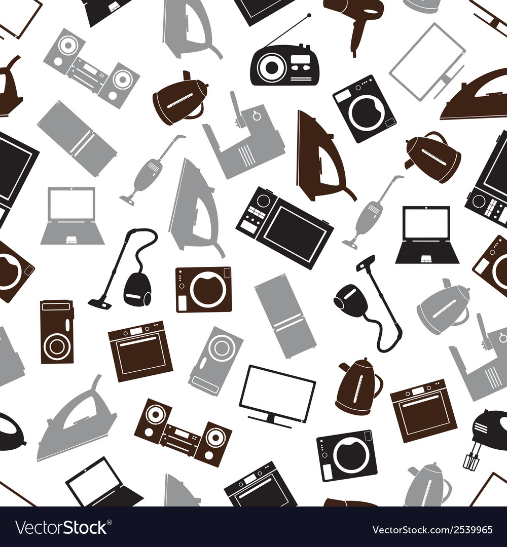 Home electrical appliances gray pattern eps10 vector | Price: 1 Credit (USD $1)