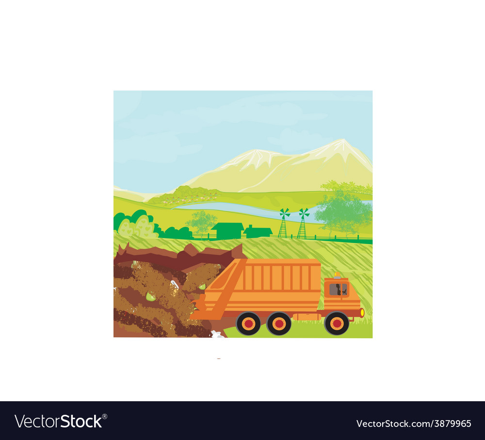Illegal dump on the field vector | Price: 1 Credit (USD $1)