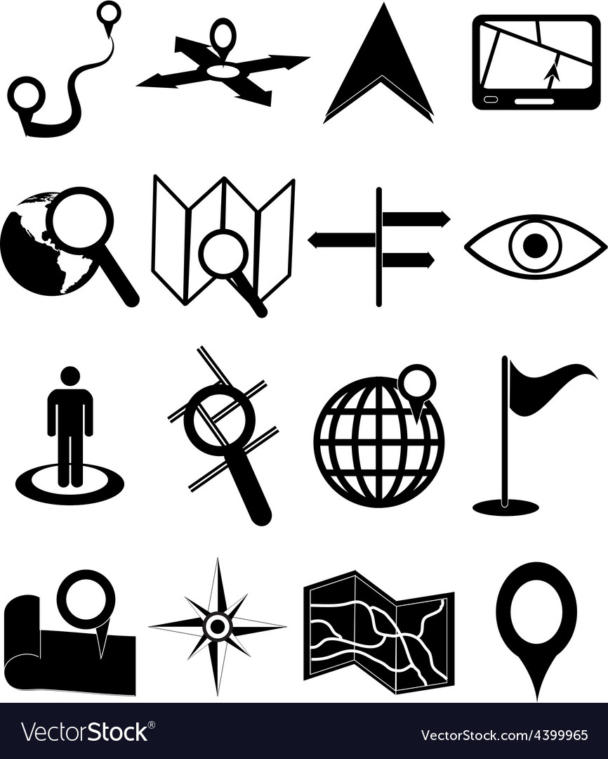 Maps navigation icons set vector | Price: 3 Credit (USD $3)