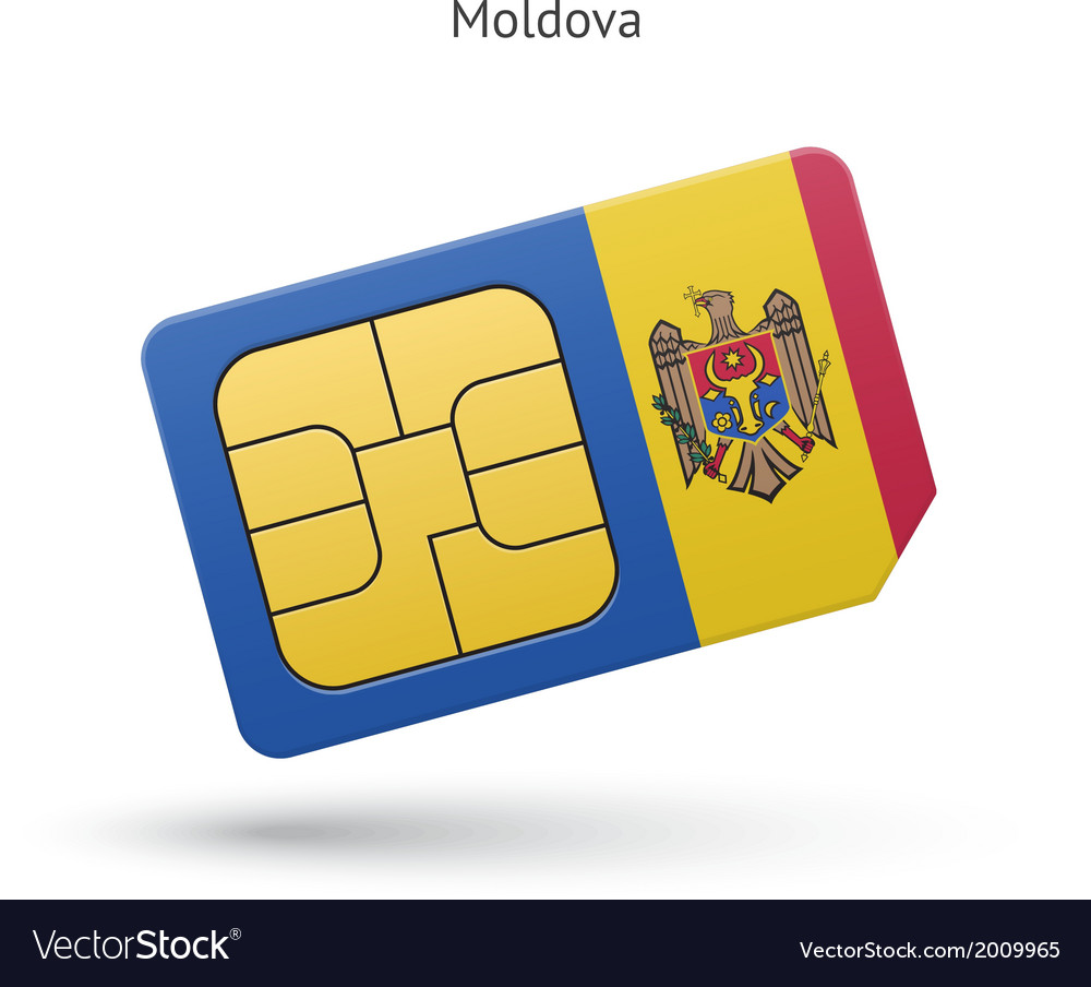 Moldova mobile phone sim card with flag vector | Price: 1 Credit (USD $1)