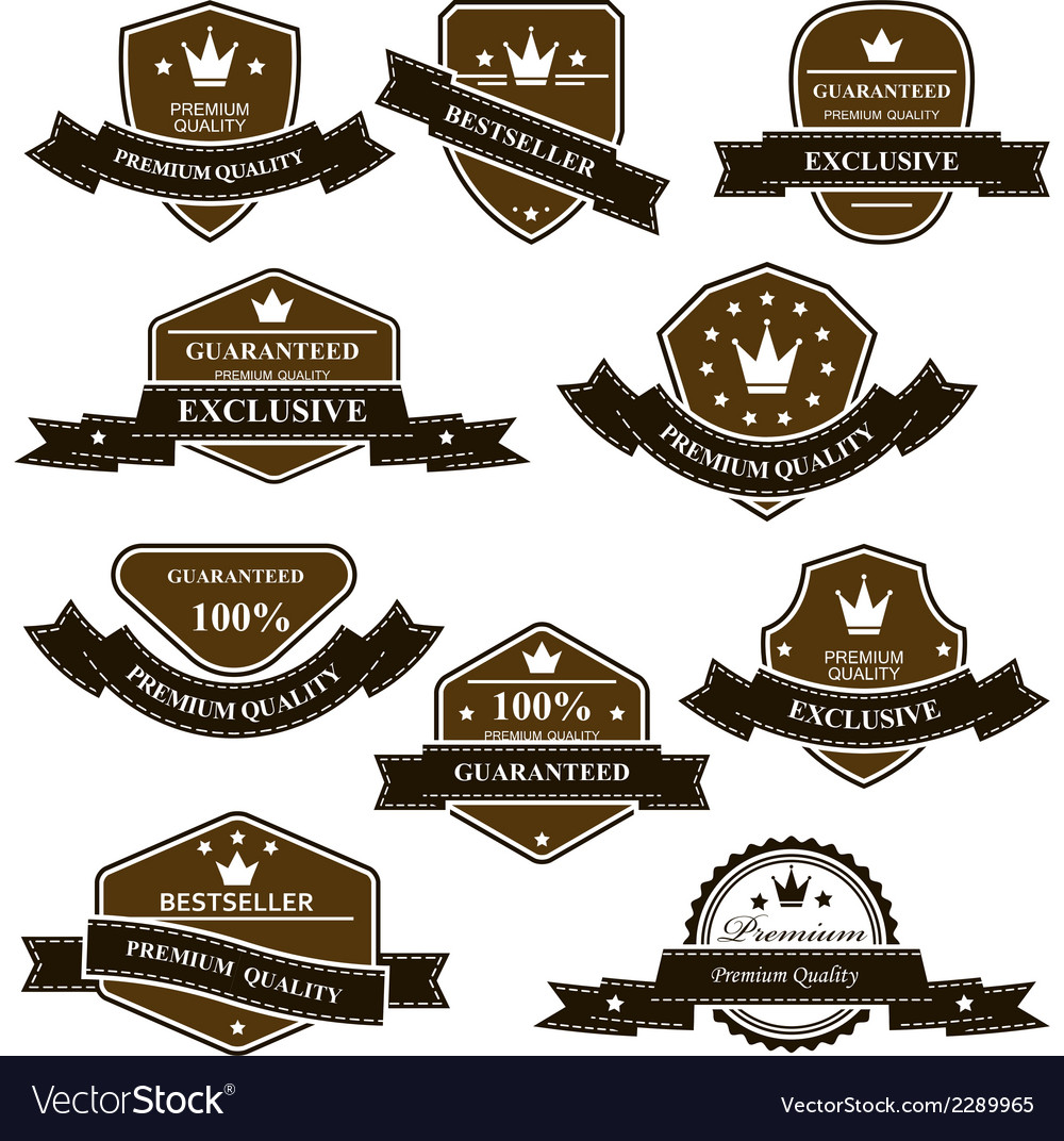 Old heraldic medals and emblems with ribbons vector | Price: 1 Credit (USD $1)