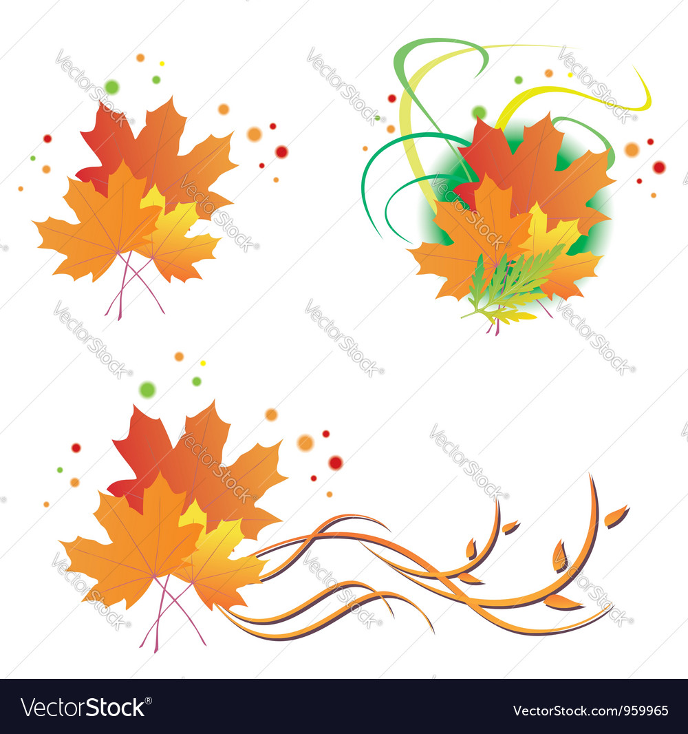 Set autumn leaves vector | Price: 1 Credit (USD $1)
