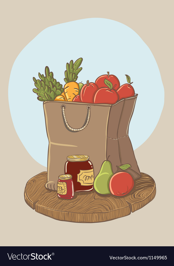 Shopping bag with fruits and vegetables vector | Price: 1 Credit (USD $1)