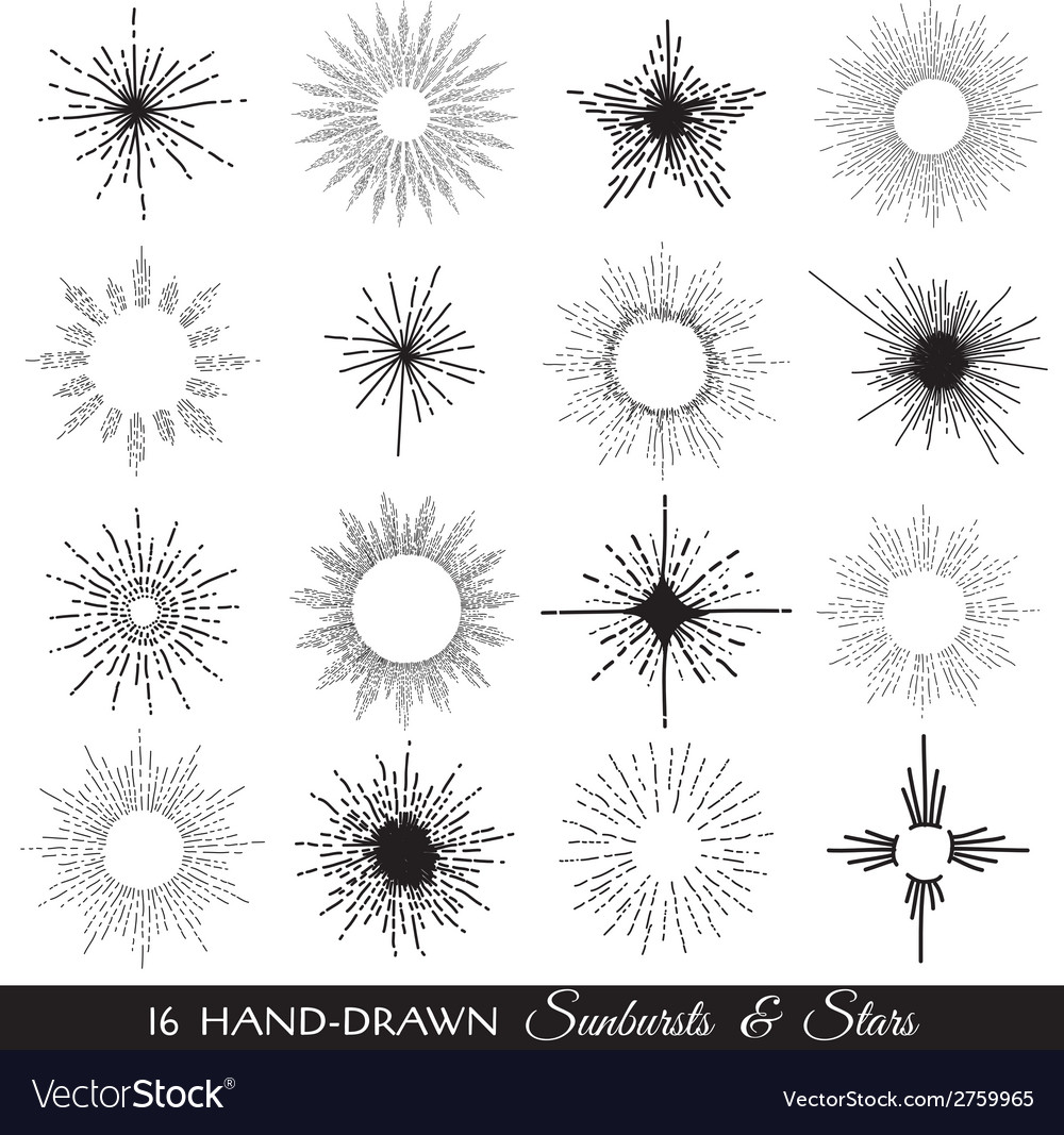 Sunbursts and stars - hand-drawn vector | Price: 1 Credit (USD $1)