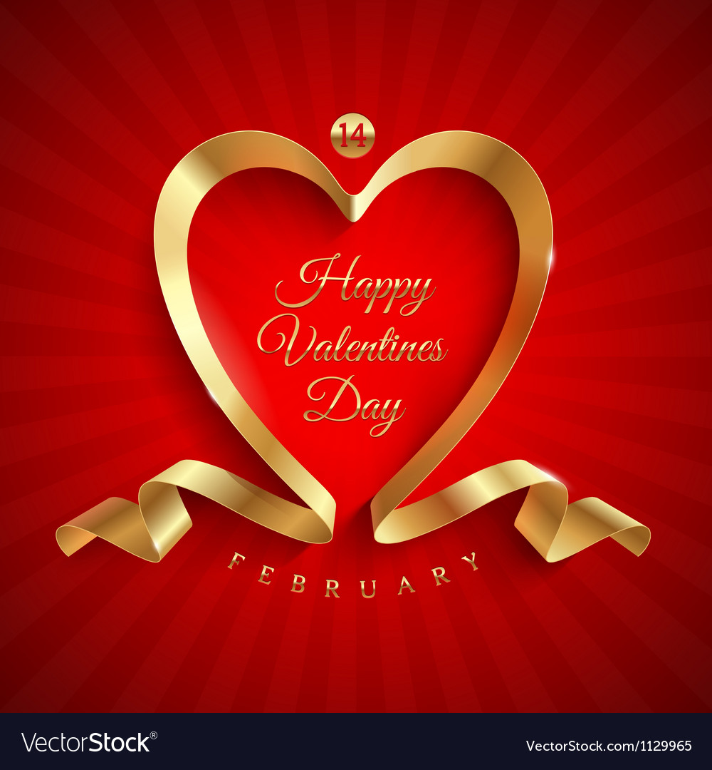 Valentines day greeting with golden ribbon vector | Price: 1 Credit (USD $1)