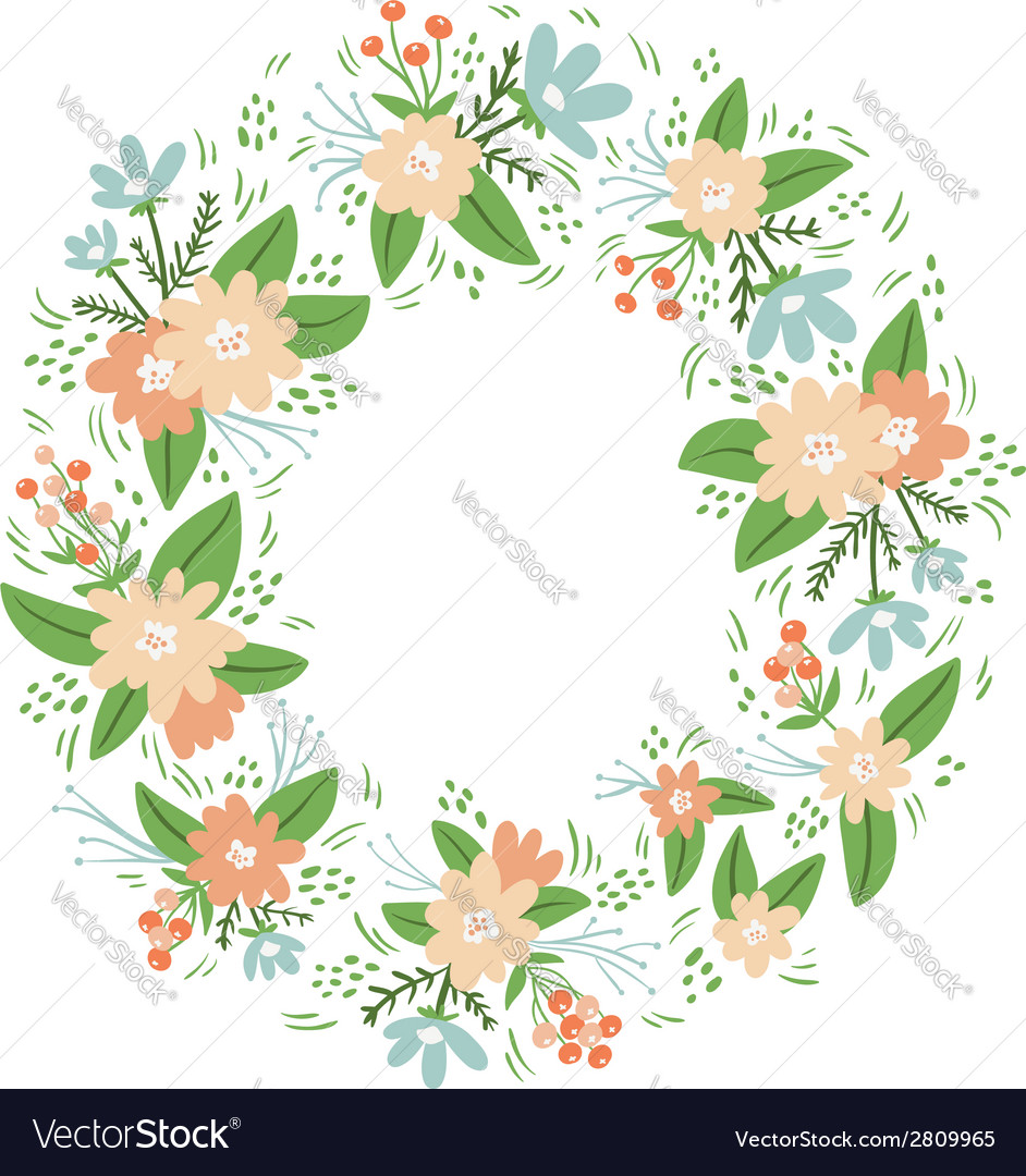 Vintage floral wreath frame vector | Price: 1 Credit (USD $1)