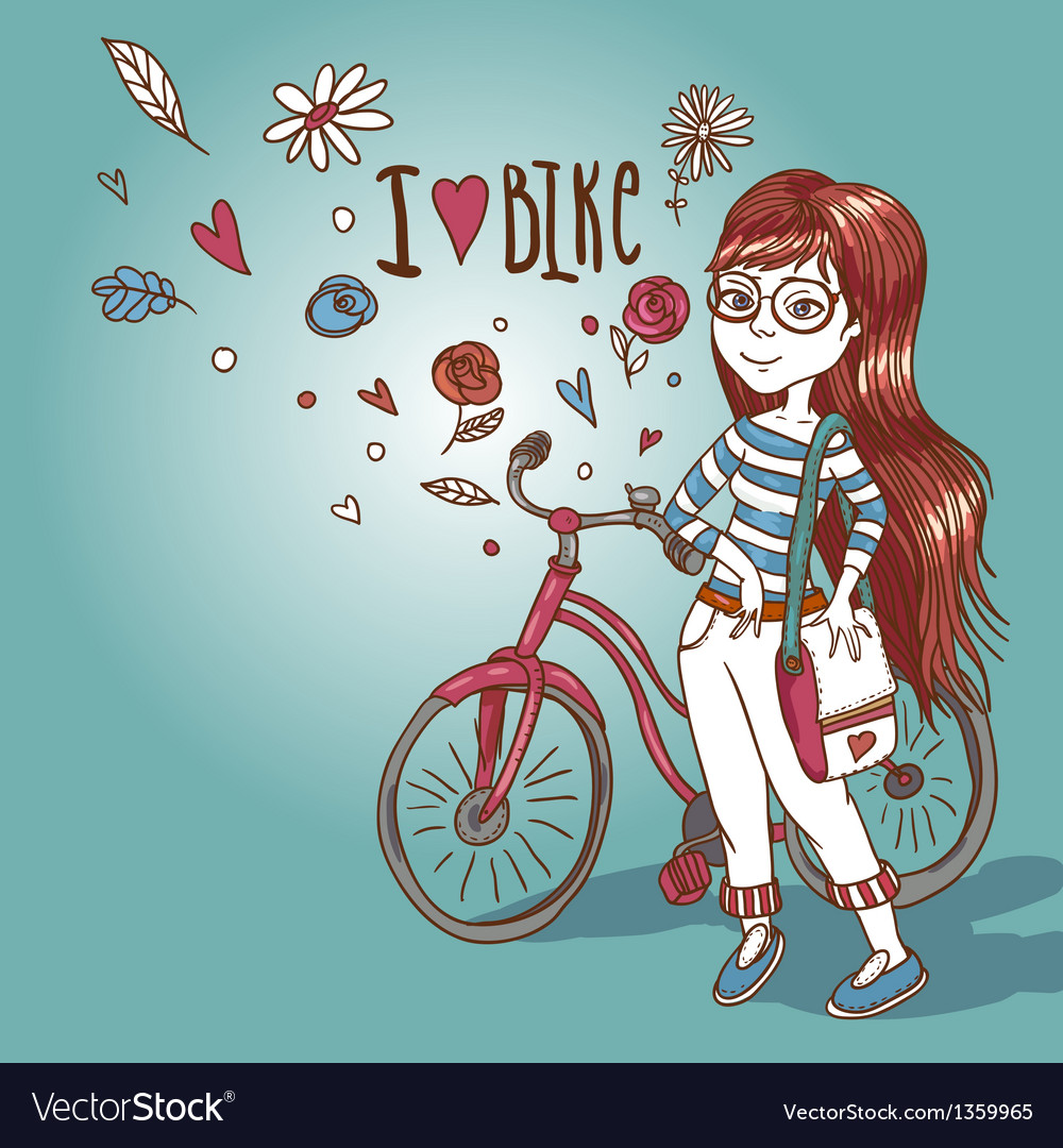 Young girl with a bicycle vector | Price: 3 Credit (USD $3)