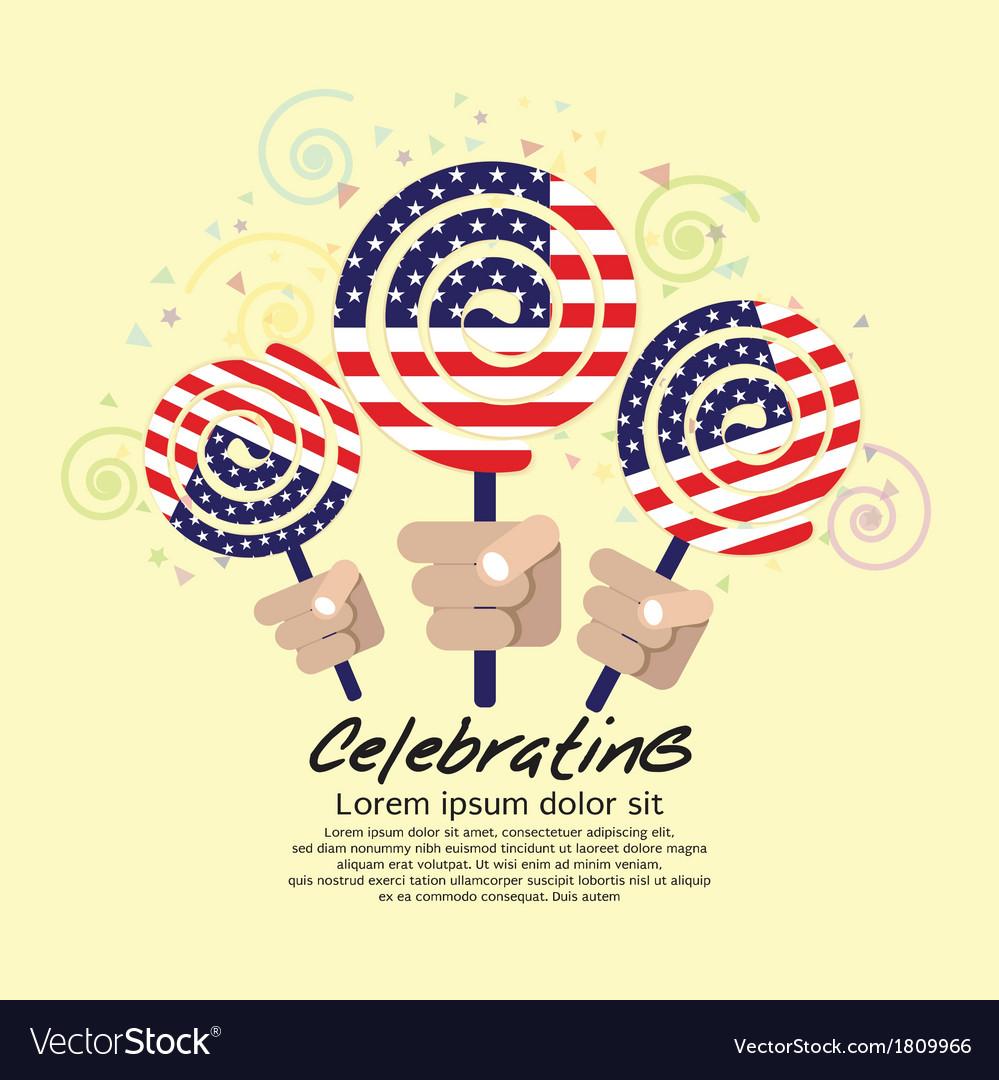 America flag lollipop festival concept eps10 vector | Price: 1 Credit (USD $1)