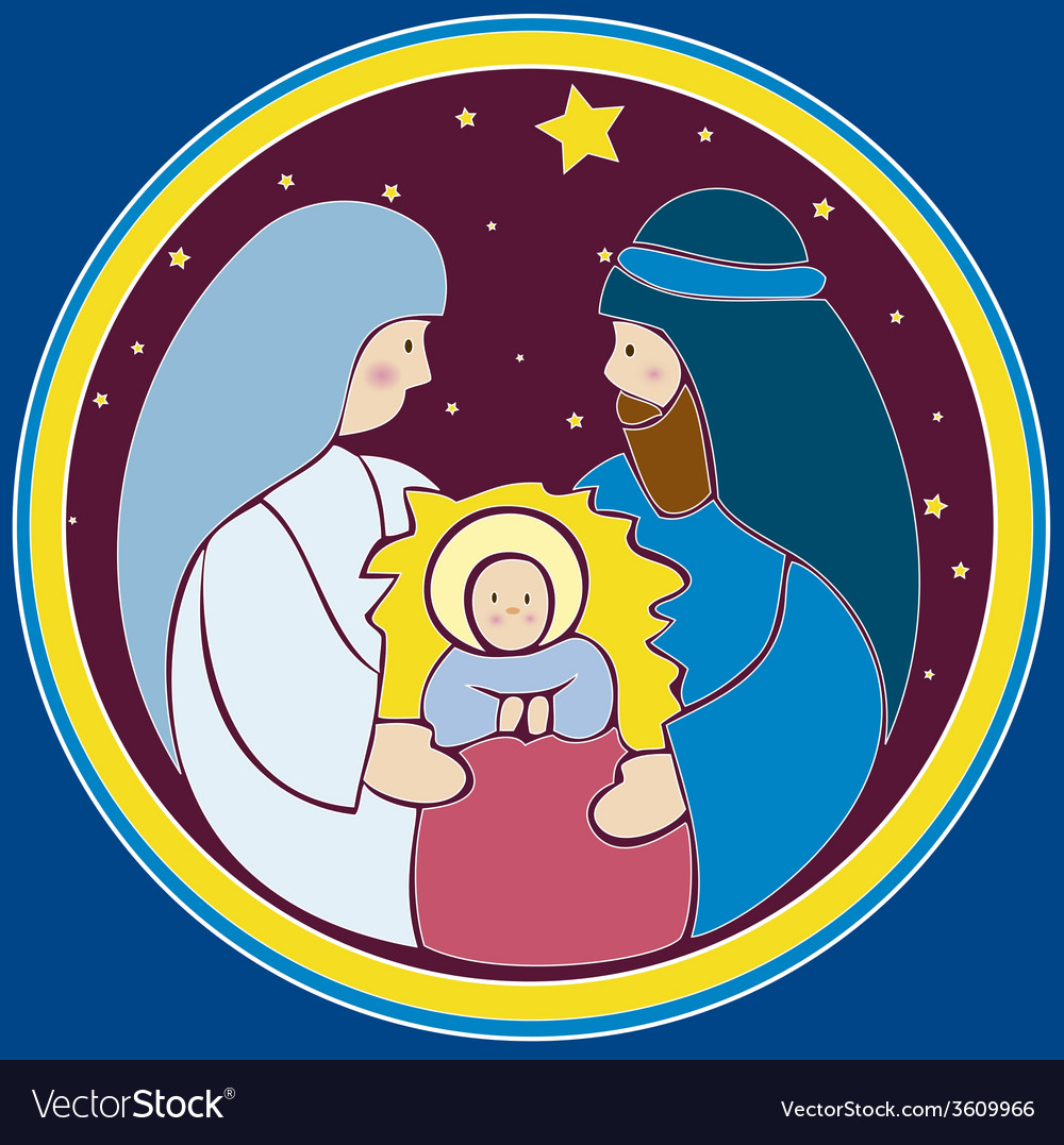 Baby jesus in a manger vector | Price: 1 Credit (USD $1)