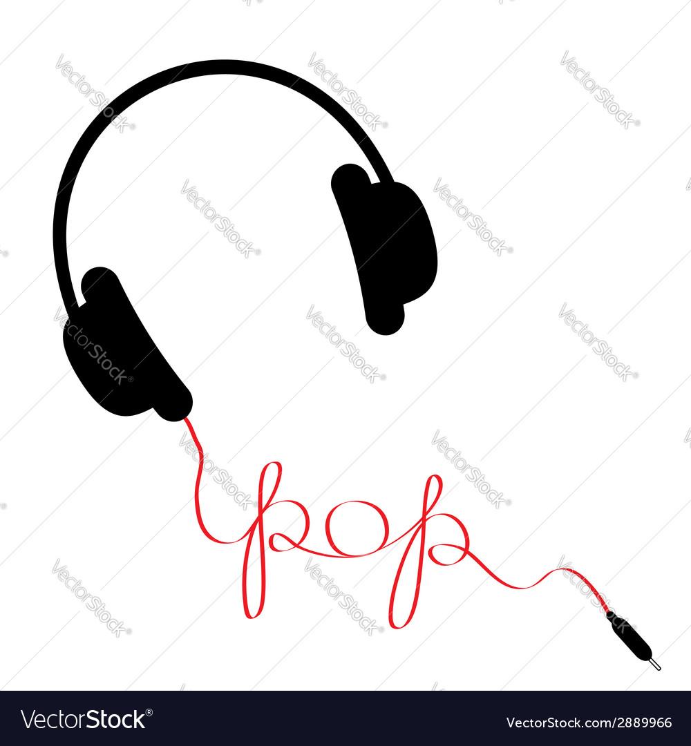 Black headphones with red cord word pop vector   Price: 1 Credit (USD $1)