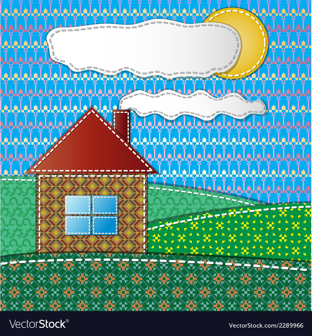 Colorful scrapbook with house vector | Price: 1 Credit (USD $1)