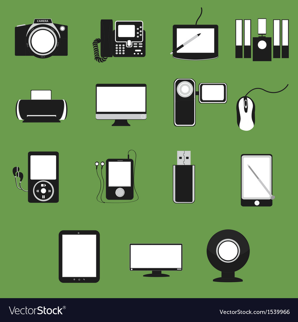 Electronic device flat icons set 1 vector | Price: 1 Credit (USD $1)