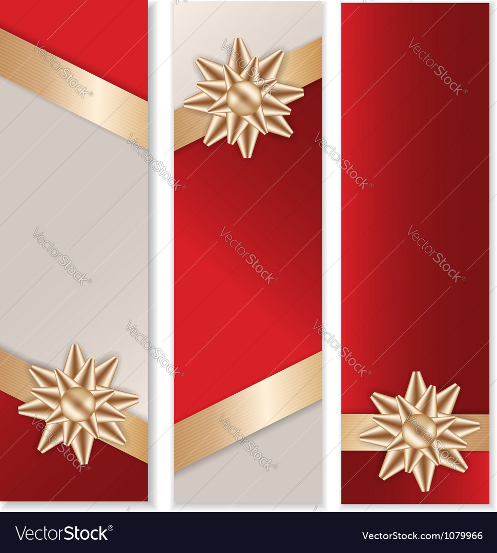 Golden bow banner set vector | Price: 1 Credit (USD $1)