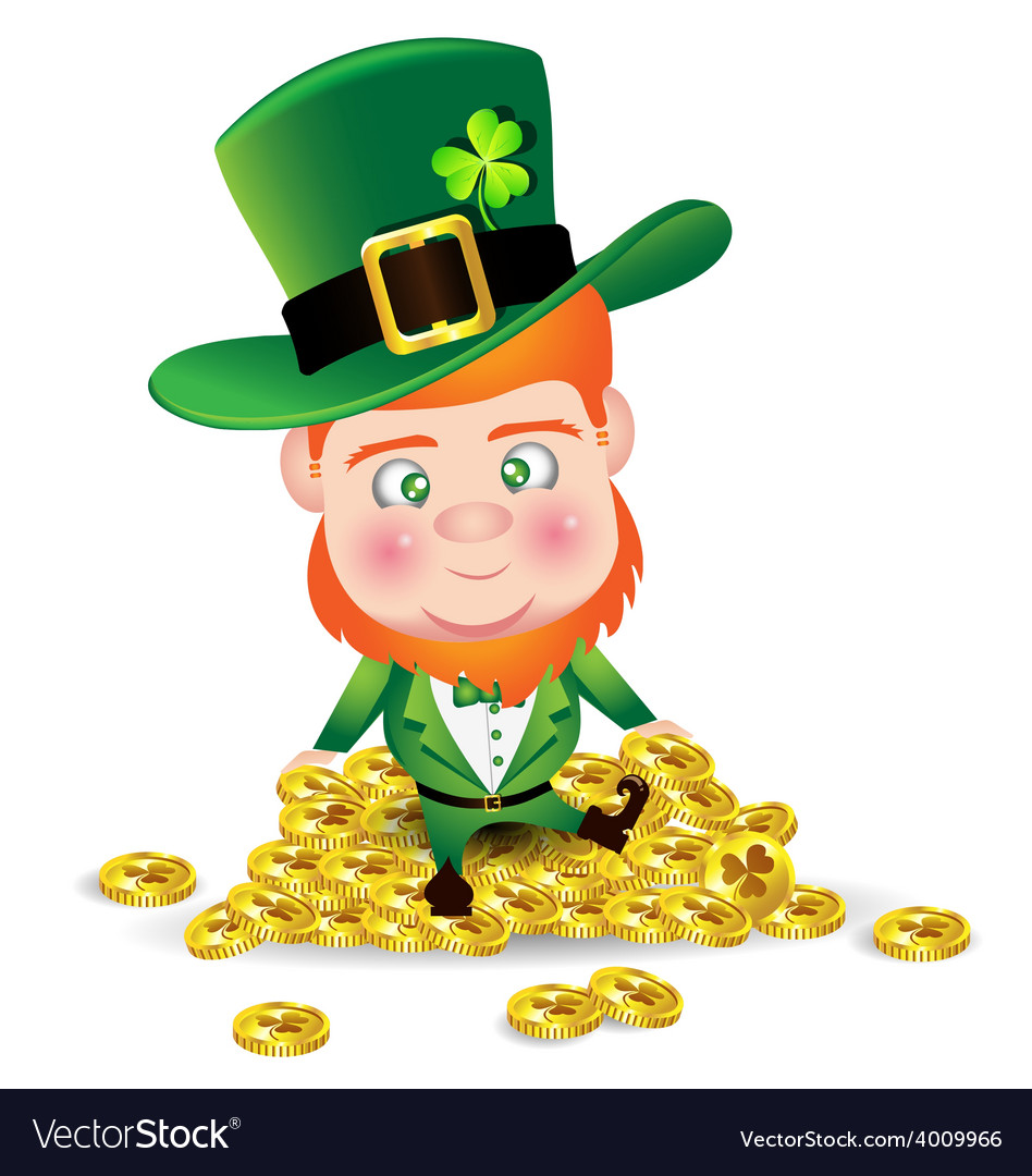 Irish man on gold coin for st patricks day card vector | Price: 1 Credit (USD $1)