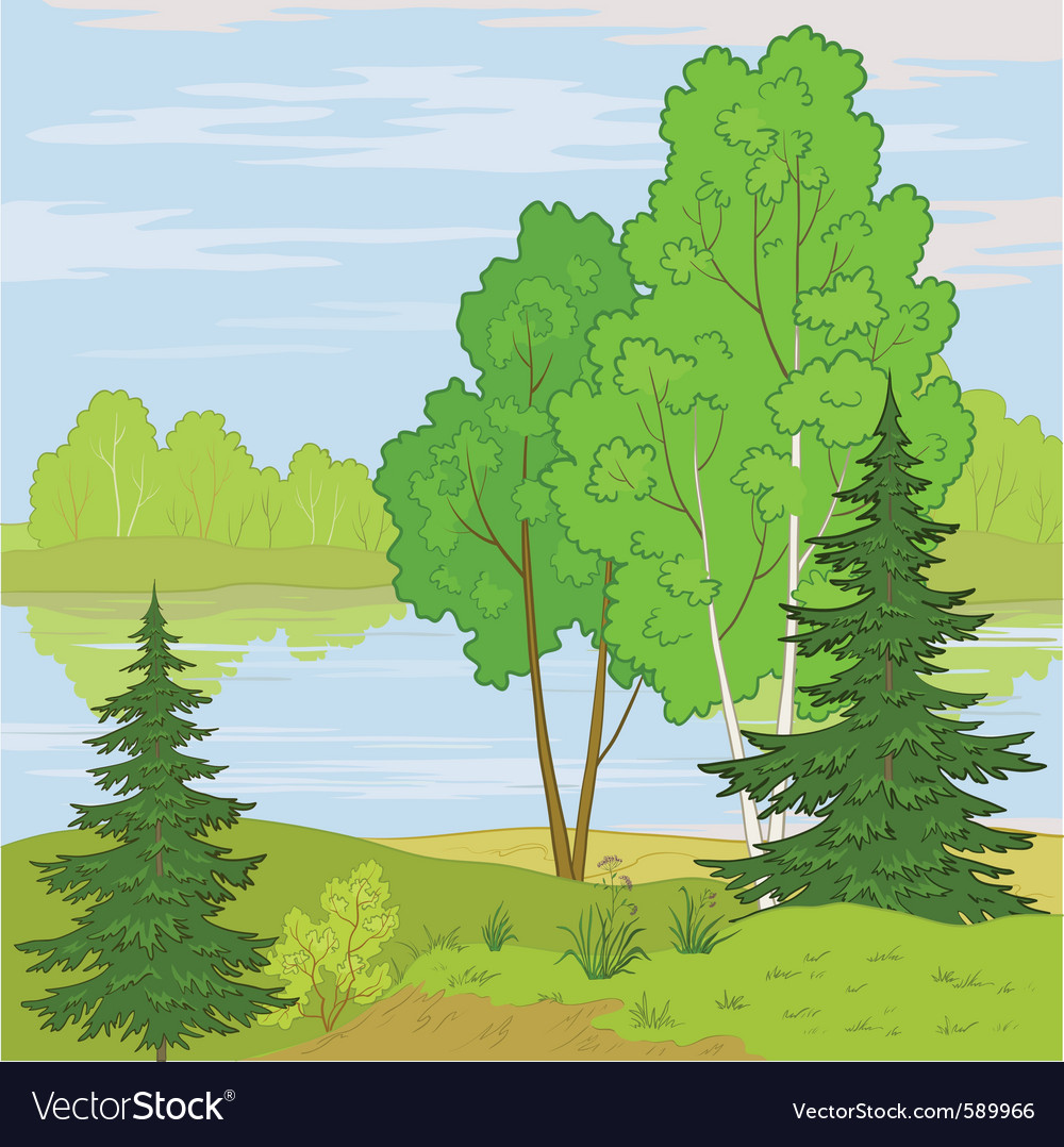 Landscape forest river vector | Price: 1 Credit (USD $1)
