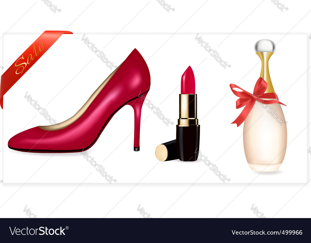 Sexy high heel shoes lipstick vector | Price: 1 Credit (USD $1)