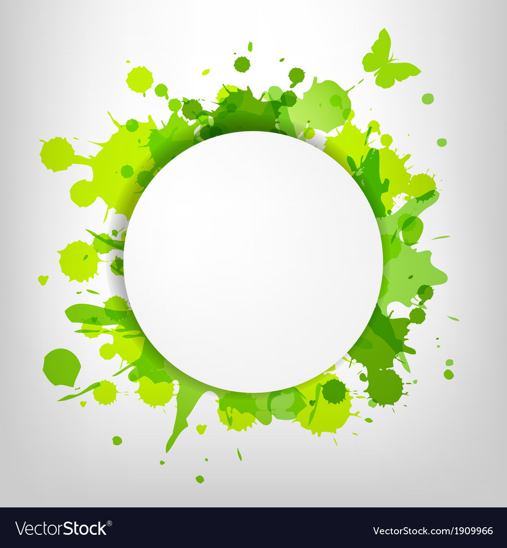 Speech bubble with green blots and butterfly vector   Price: 1 Credit (USD $1)