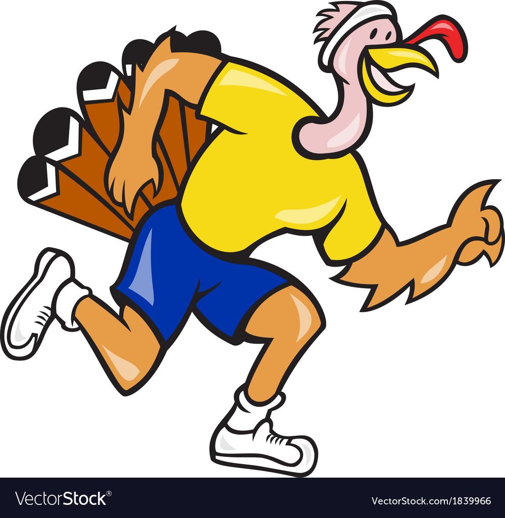 Turkey run runner side cartoon vector | Price: 1 Credit (USD $1)