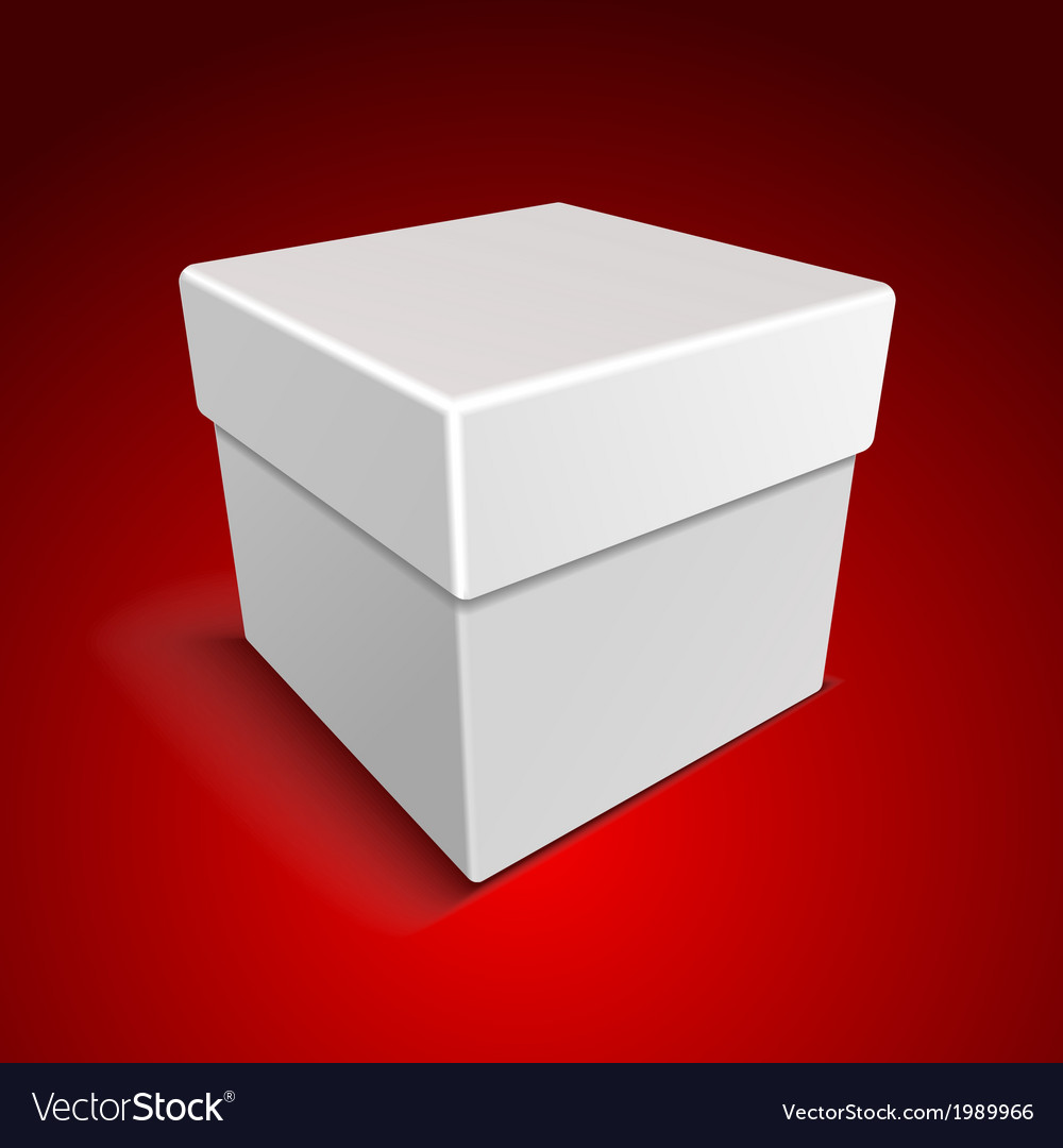 White blank paper close gift box on red background vector | Price: 1 Credit (USD $1)