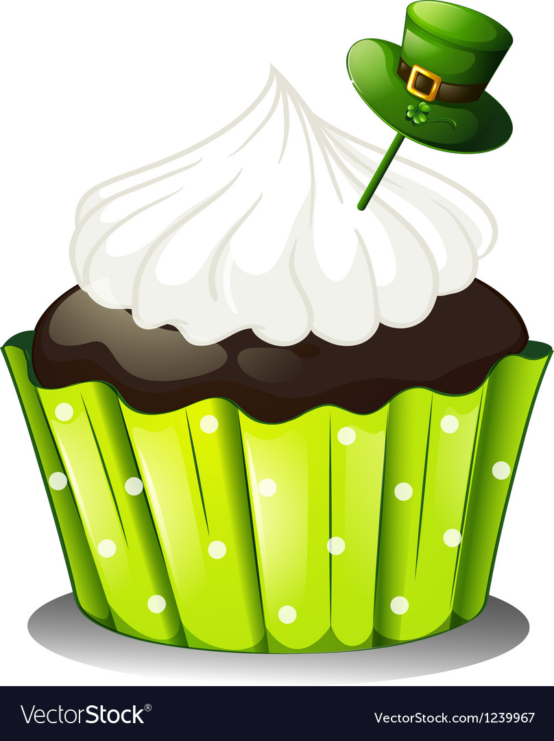 A chocolate cupcake with a white icing and a green vector | Price: 1 Credit (USD $1)