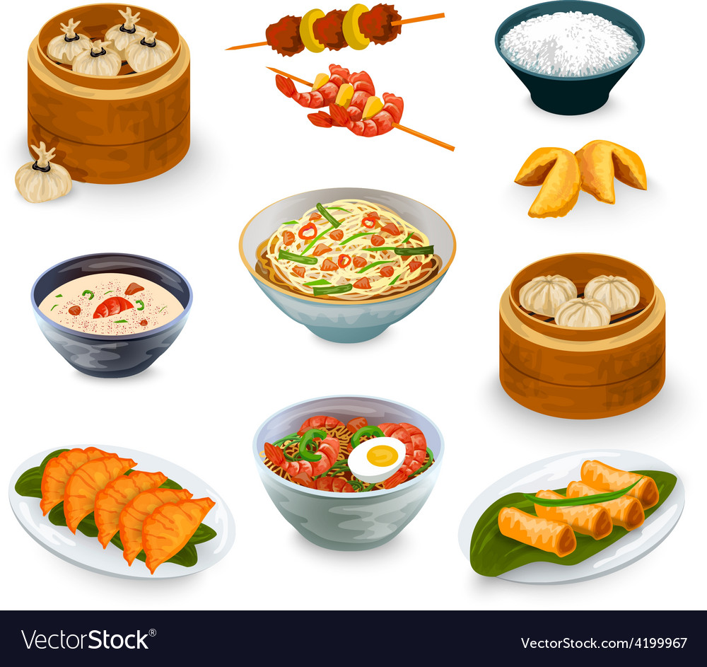 Asian food set vector | Price: 1 Credit (USD $1)