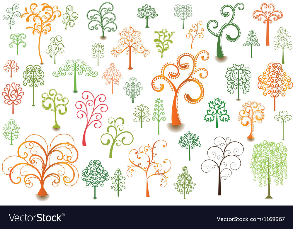 Cutly trees vector | Price: 1 Credit (USD $1)