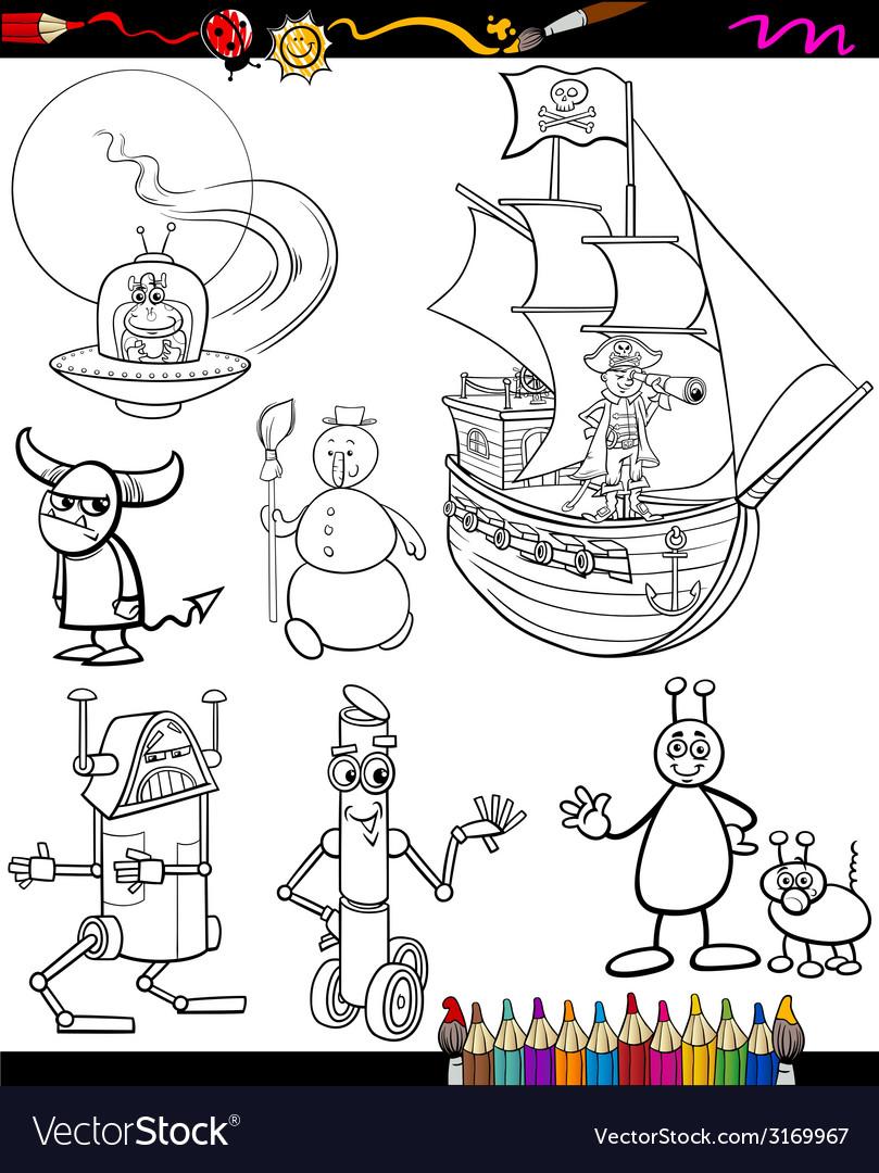 Fantasy cartoon set for coloring book vector | Price: 1 Credit (USD $1)