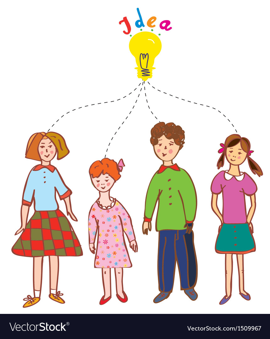 Group of children with idea bulb vector | Price: 1 Credit (USD $1)