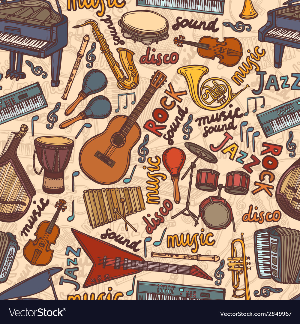 Musical instruments sketch seamless pattern vector | Price: 1 Credit (USD $1)
