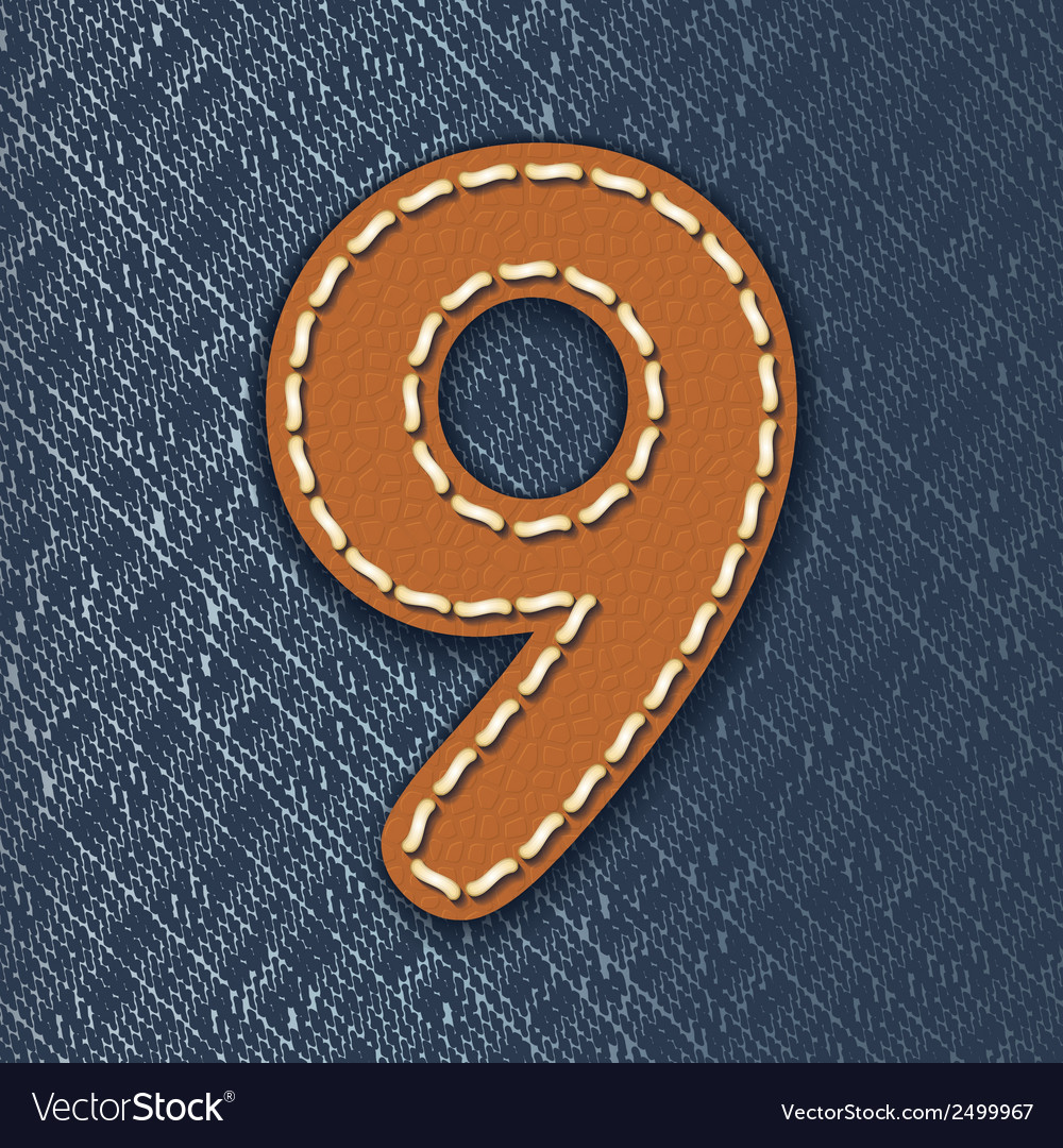 Number 9 made from leather on jeans background vector | Price: 1 Credit (USD $1)