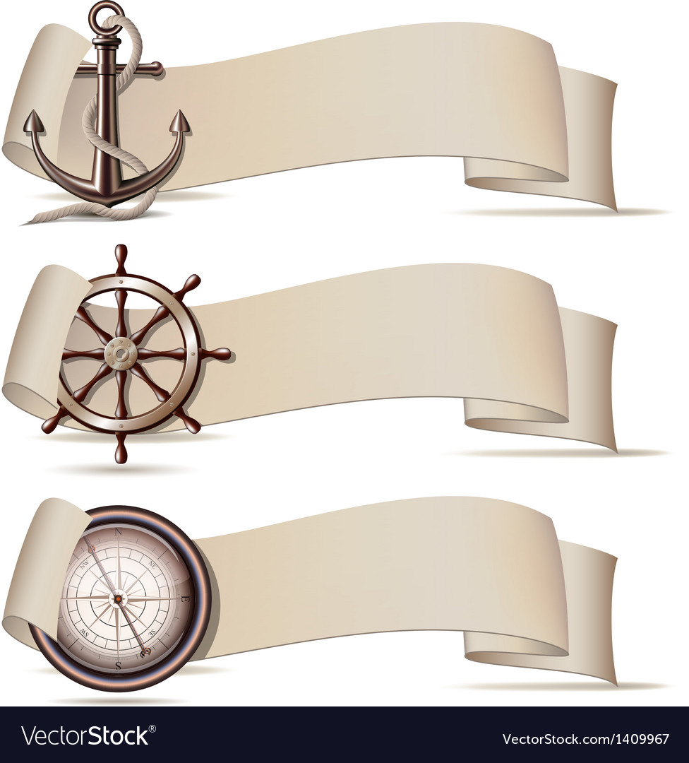 Set of banners with marine icons vector | Price: 1 Credit (USD $1)