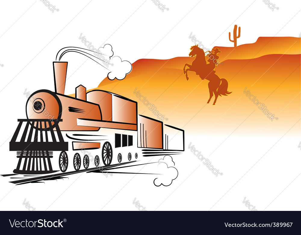 Train cowboy vector | Price: 1 Credit (USD $1)
