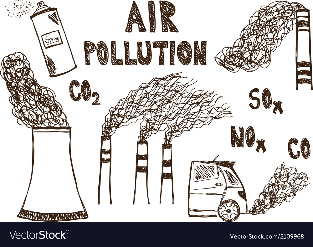 Air pollution doodle vector | Price: 1 Credit (USD $1)