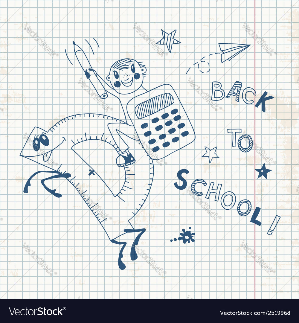 Back to school schoolboy endearing knowledge vector | Price: 1 Credit (USD $1)